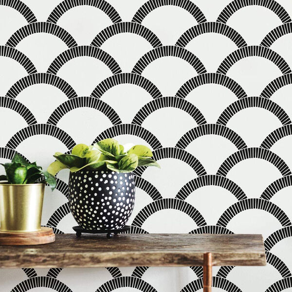 Mosaic Scallop Black and Cream 28 Sq. Ft. Peel and Stick Wallpaper, image 1