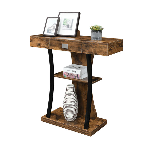 Newport Harri Barnwood and Black One Drawer Console Table with Shelves, image 2