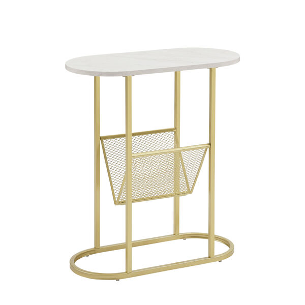 Margo White and Gold Side Table with Magazine Rack, image 5