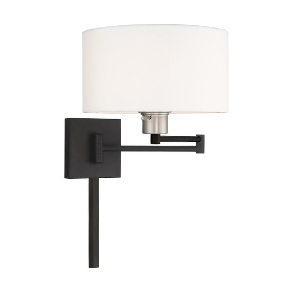 Swing Arm Wall Lamps Black 11-Inch One-Light Swing Arm Wall Lamp with Hand Crafted Off-White Hardback Shade, image 4