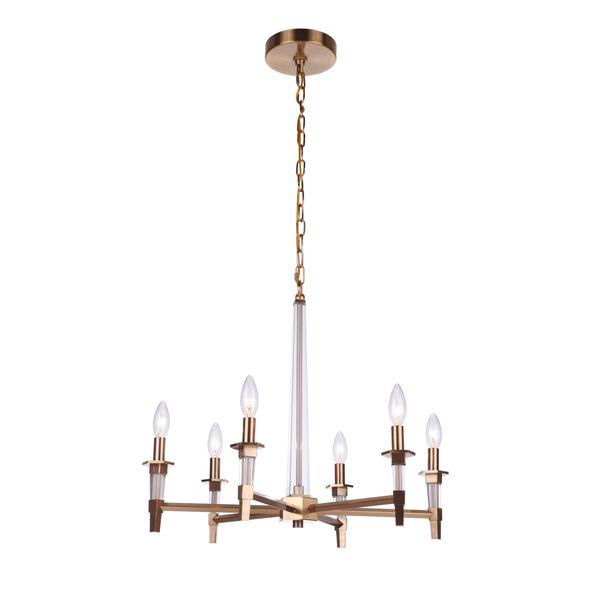 Tarryn Satin Brass Six-Light Chandelier, image 2