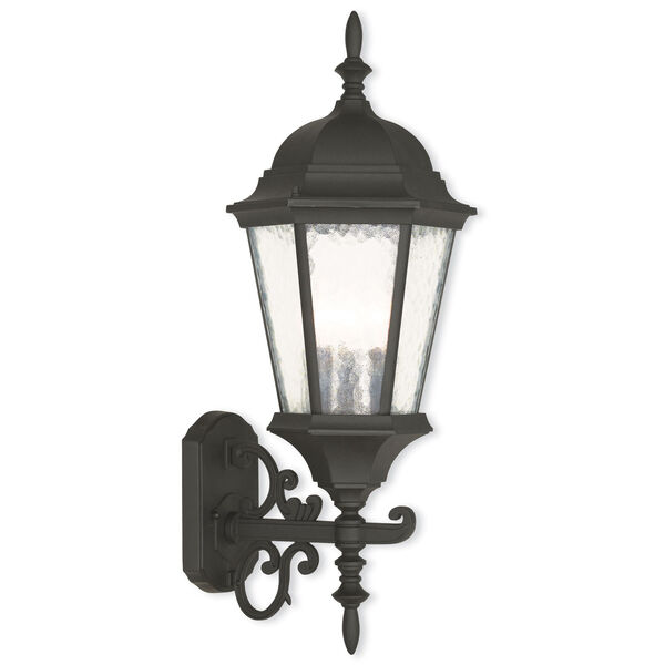 Hamilton Textured Black 9.5-Inch Three-Light Outdoor Bottom Mounted Wall Lantern, image 1