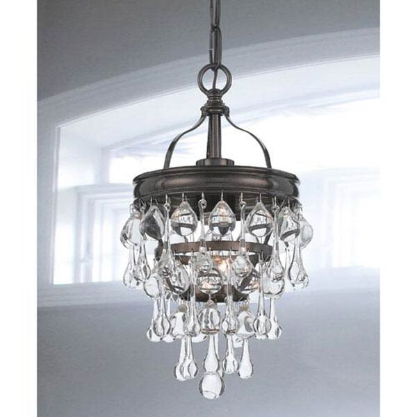 Hopewell Bronze One-Light Mini-Pendant with Clear Crystal, image 2
