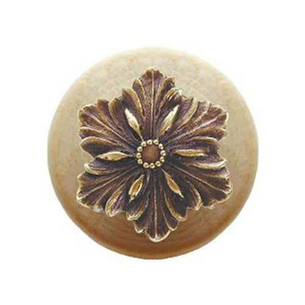 Natural Wood Opulent Flower Knob with Antique Brass, image 1
