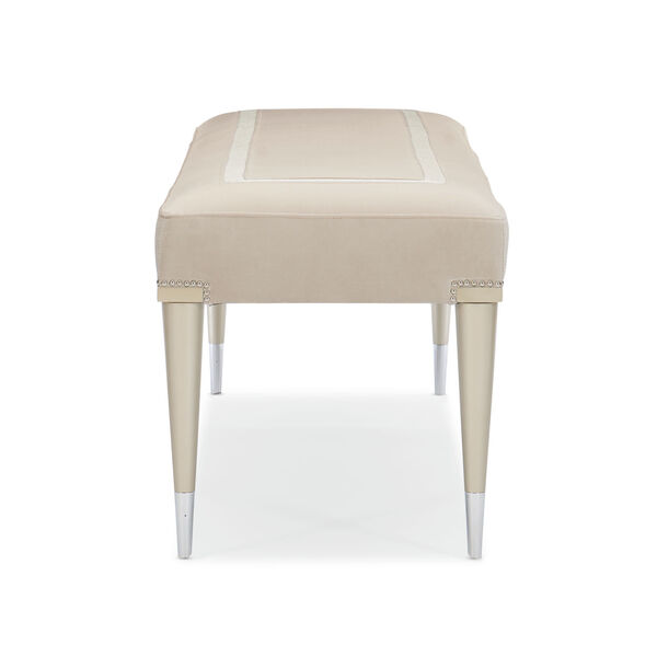 Caracole Classic Soft Silver Paint and Beige Boarding on Beautiful Bench, image 6