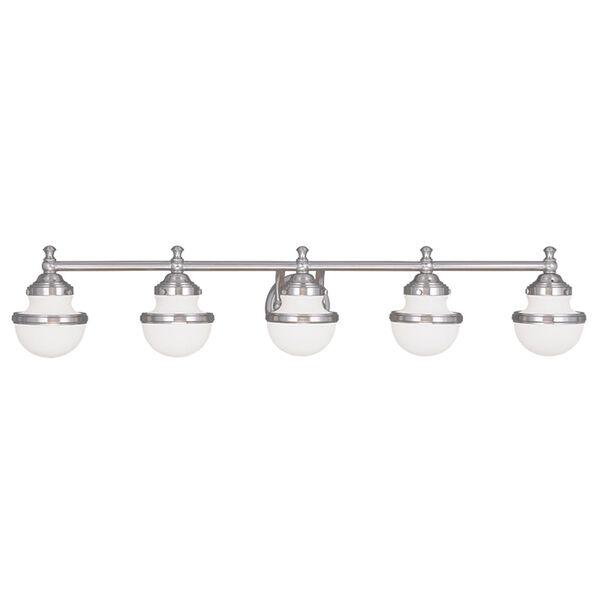 Oldwick Brushed Nickel 45-Inch Five-Light Bath Light, image 1