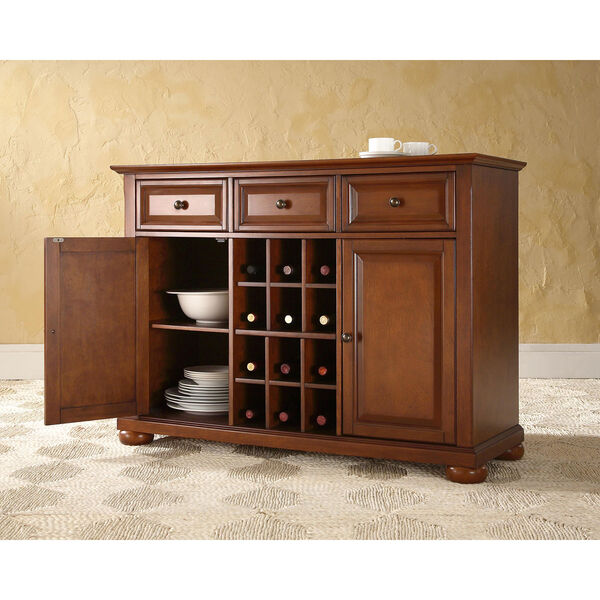 Alexandria Buffet Server / Sideboard Cabinet with Wine Storage in Classic Cherry Finish, image 4