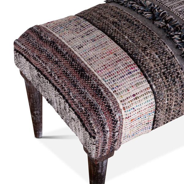 Algiers Gray and Black Accent Bench, image 3