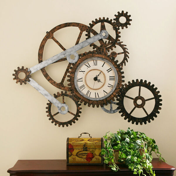 Multicolor Gear Wall Art with Clock, image 2