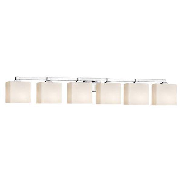 Fusion - Regency Polished Chrome Six-Light Bath Bar with Rectangle Opal Shade, image 1