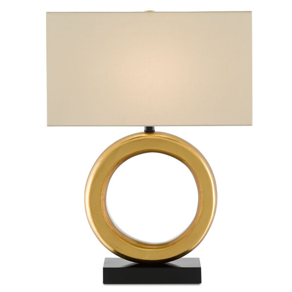 Kirkos Painted Gold and Glossy Black One-Light Table Lamp, image 1