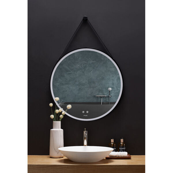 Sangle Black 30-Inch Round LED Framed Mirror with Defogger and Vegan Leather Strap, image 1