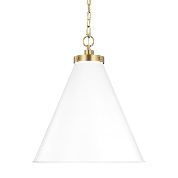 Wellfleet Matte White and Gold 20-Inch One-Light Pendant, image 3