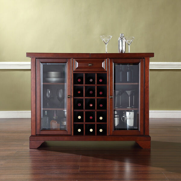 LaFayette Sliding Top Bar Cabinet in Vintage Mahogany Finish, image 5