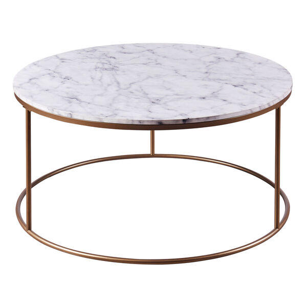 Marmo Faux Marble and Brass Round Coffee Table with Faux Marble, image 6