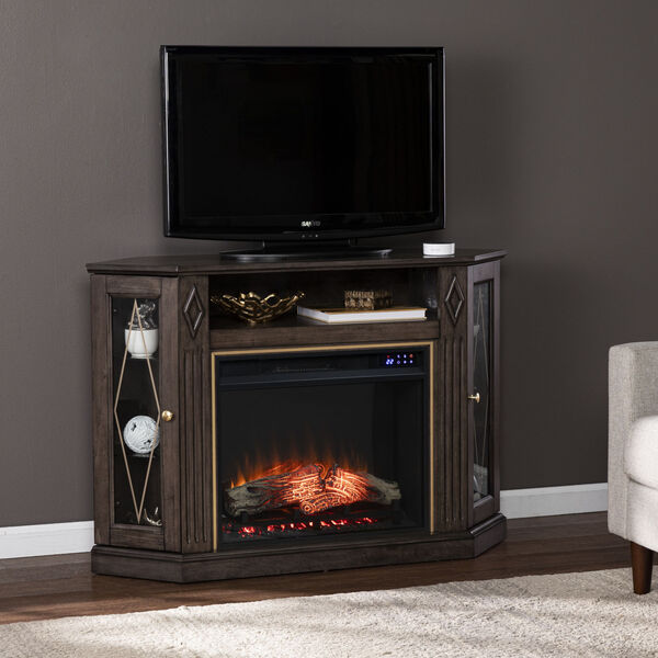 Austindale Light Brown Corner Electric Fireplace with Media Storage, image 4