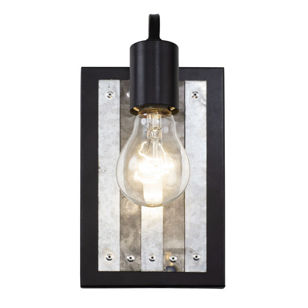 Abbey Rose Black and Galvanized One-Light Sconce, image 3