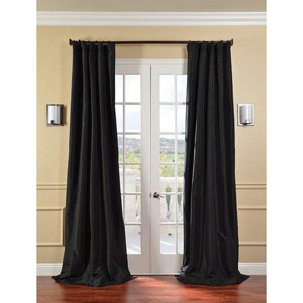 Jet Black Faux Silk Taffeta Single Panel Curtain, 50 X 96, image 1