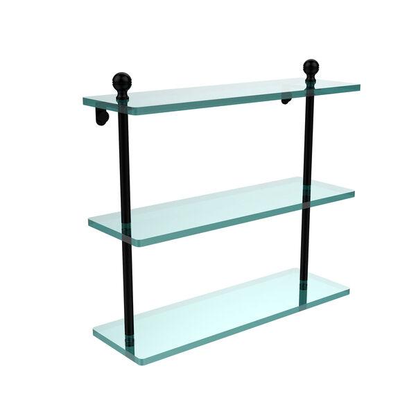 Matte Black 16 x 5 Triple Glass Shelf, image 1