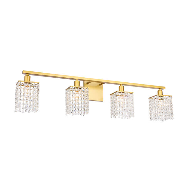 Phineas Brass Four-Light Bath Vanity with Clear Crystals, image 4
