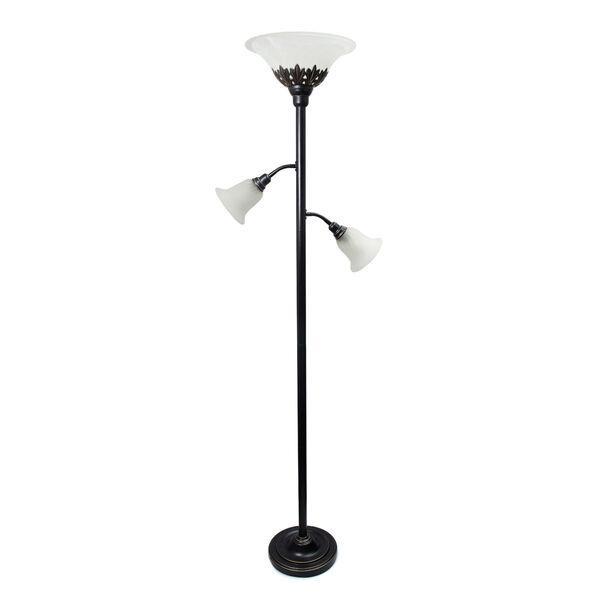 Quince Restoration Bronze Three-Light Floor Lamp with White Shade, image 1
