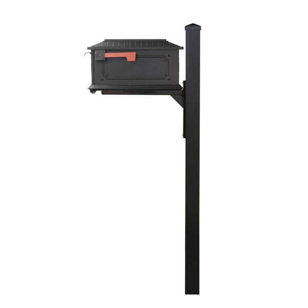 Kingston Curbside Black Mailbox and Wellington Direct Burial Mailbox Post Smooth Square, image 4