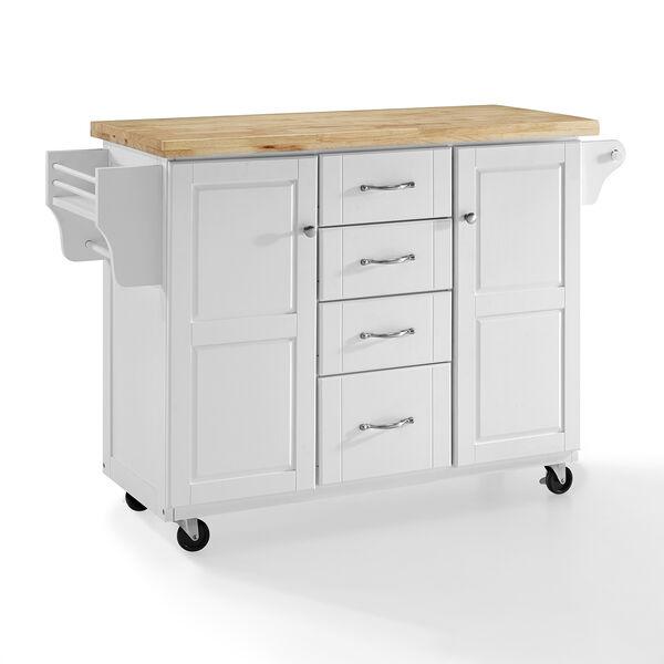 Elliot White MDF and Birch Veneer Kitchen Cart, image 1