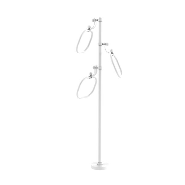 Matte White Nine-Inch Towel Stand with Oval Towel Rings, image 1