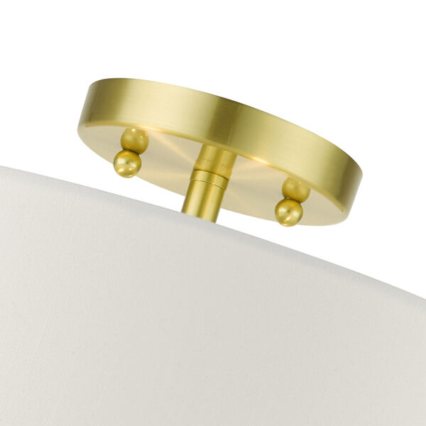 Meridian Satin Brass 15-Inch Three-Light Semi-Flush Mount, image 6