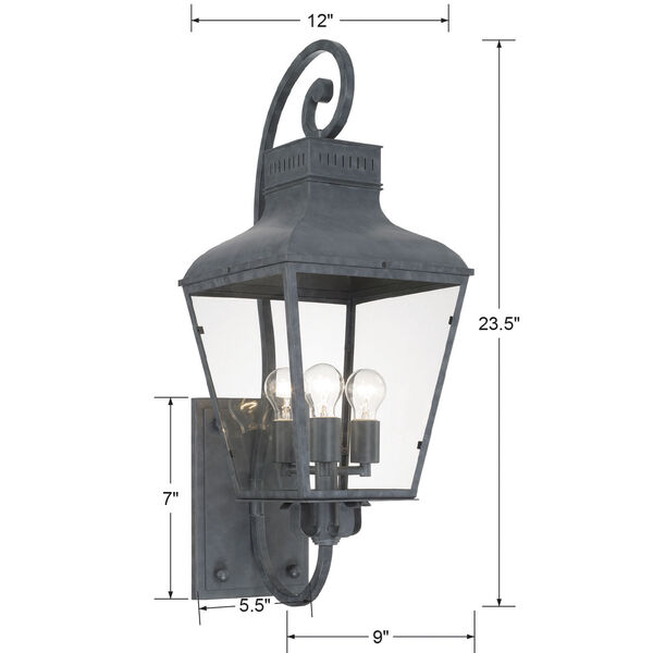 Dumont Graphite 32-Inch High Three-Light Outdoor Wall Mount, image 4