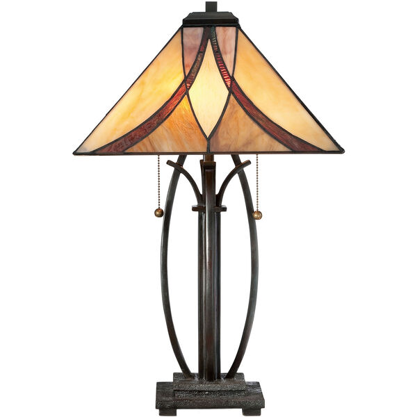 Wellington Bronze Two-Light Table Lamp with Tiffany Glass, image 3