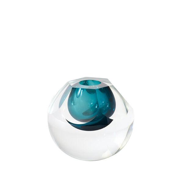 Studio A Home Azure Hexagon Cut Glass Vase, image 2