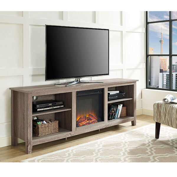 70-inch Fireplace TV Stand - Driftwood, image 1
