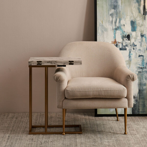 Marmo Faux Marble and Brass C Shape Extension Table with Faux Marble Top, image 2
