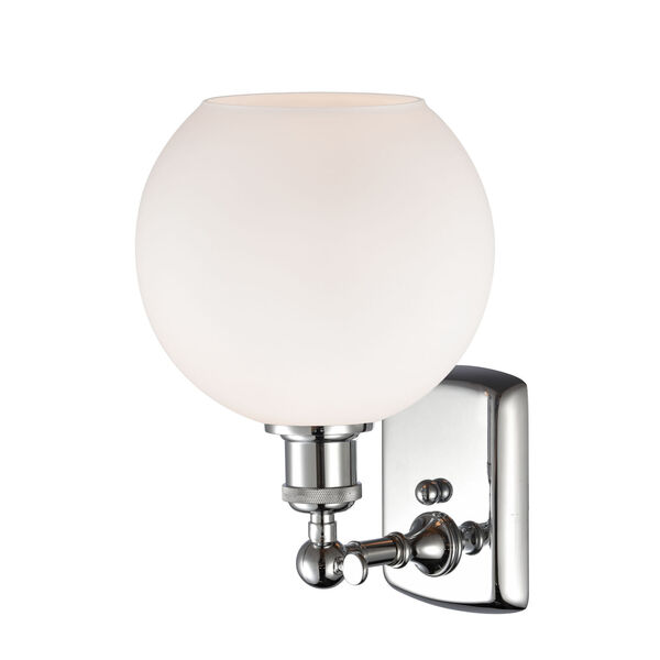 Ballston Polished Chrome Eight-Inch One-Light Wall Sconce with Matte White Glass Shade, image 2