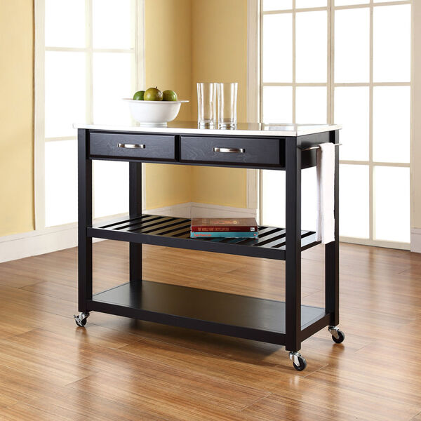Stainless Steel Top Kitchen Cart/Island With Optional Stool Storage in Black Finish, image 5