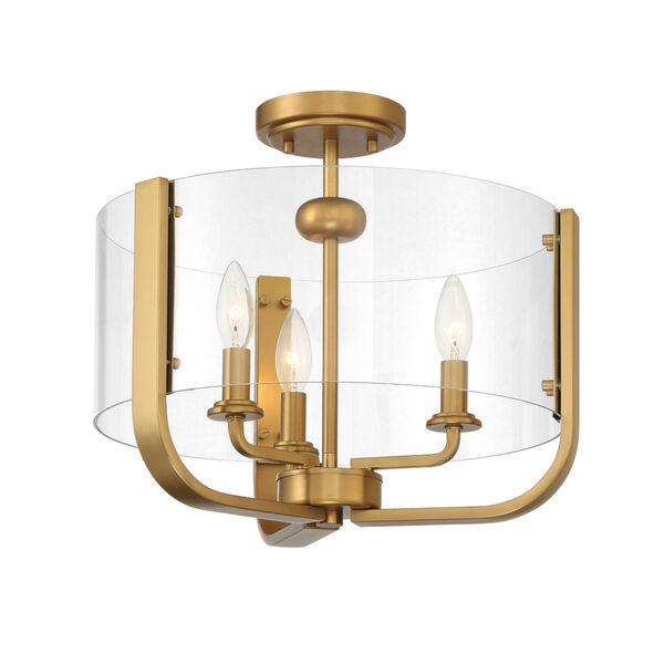 Campisi Brass Three-Light Flush Mount, image 1