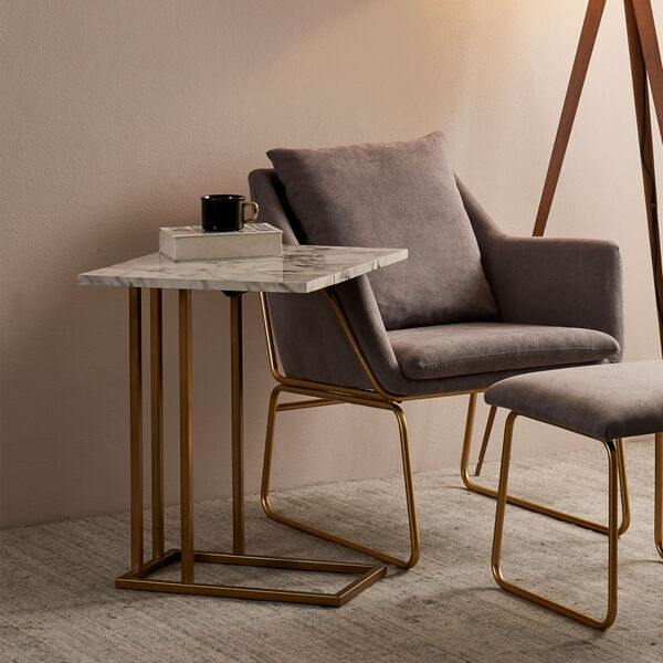 Marmo Faux Marble and Brass C Shape Extension Table with Faux Marble Top, image 3