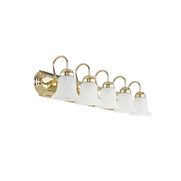 Home Basics Polished Brass Five-Light Bath Light, image 3
