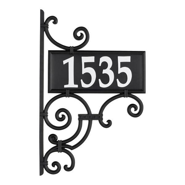 Nite Bright Black White Ironwork Reflective Address Post Sign, image 4