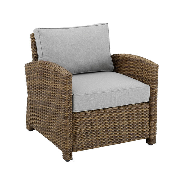 Bradenton Weathered Brown and Gray Outdoor Wicker Armchair, image 3