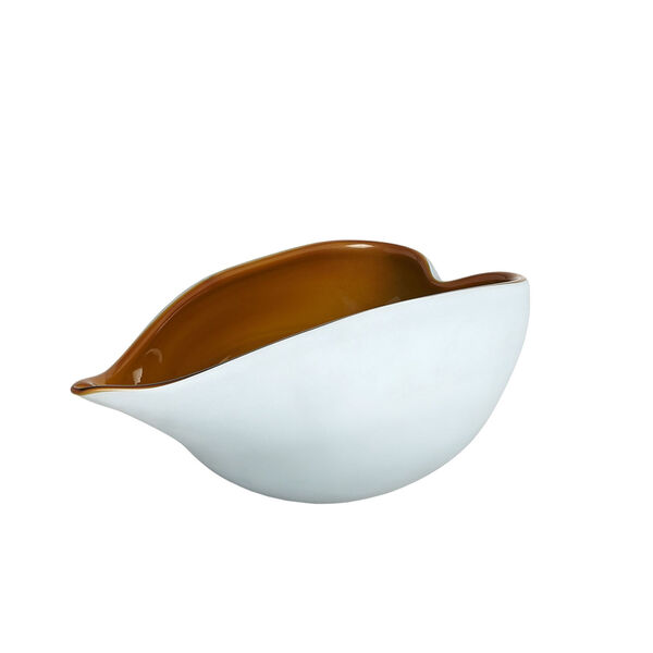 Frosted Blue and Amber 7-Inch Decorative Bowl, image 6