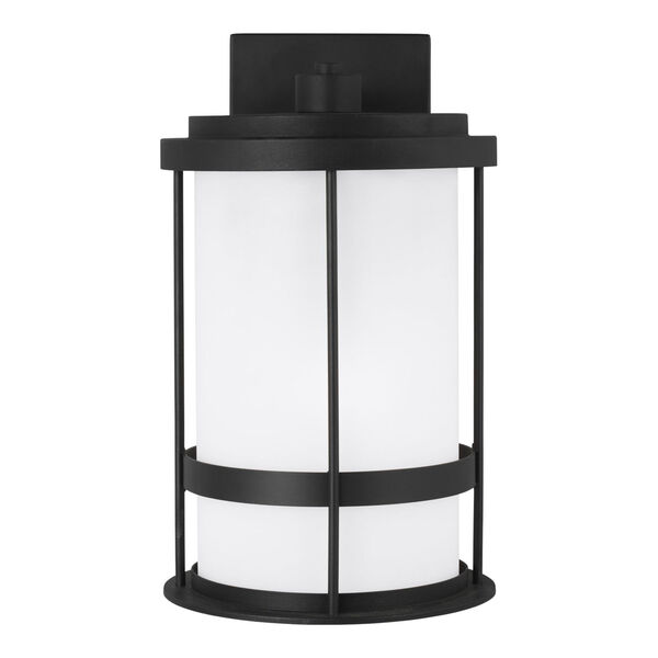 Wilburn Black One-Light Outdoor Medium Wall Sconce with Satin Etched Shade Energy Star, image 1