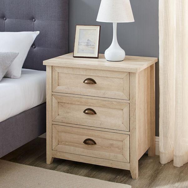 Odette White Oak Three-Drawer Nightstand, image 1