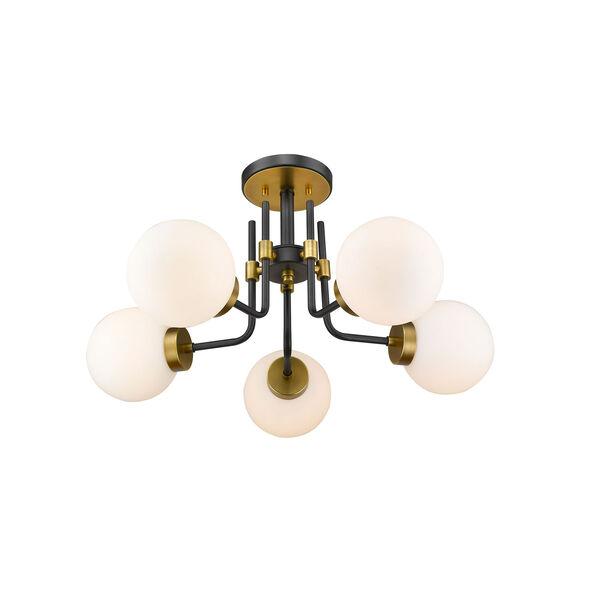 Parsons Matte Black and Olde Brass Five-Light Semi Flush Mount, image 5