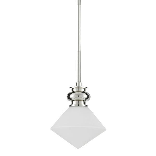 Rycroft Polished Nickel and White One-Light Mini Pendant, image 2