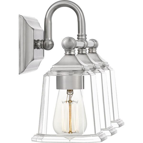Nicholas Brushed Nickel Three-Light Bath Vanity with Transparent Glass, image 3