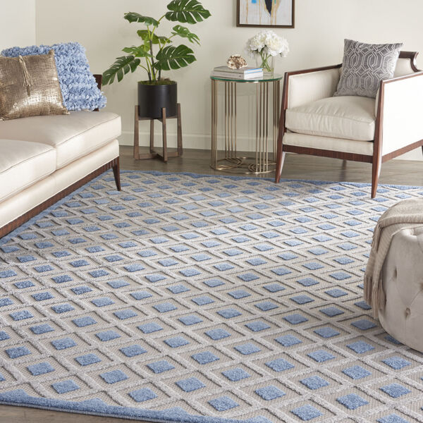 Aloha Blue and Gray Indoor/Outdoor Area Rug, image 1