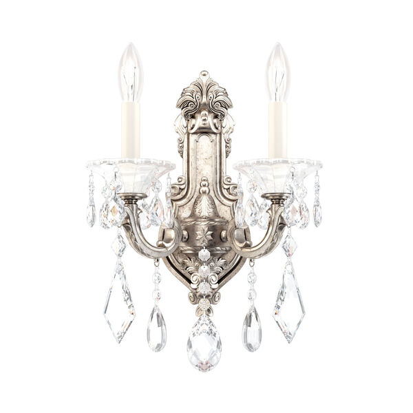 La Scala Antique Silver Two-Light Wall Sconce, image 1