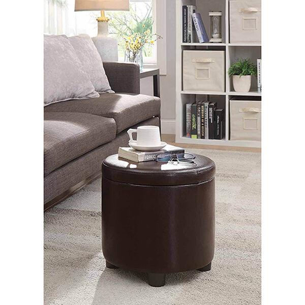 Designs4Comfort Espresso Round Accent Storage Ottoman, image 2